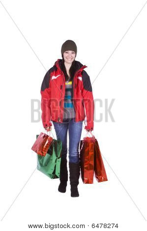 Isolated Shot Of A Beautiful Girl With Shopping Bags