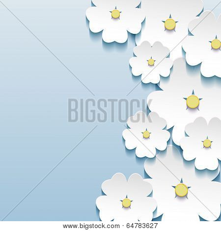 Abstract Floral Elegant Background With 3D Flowers Sakura
