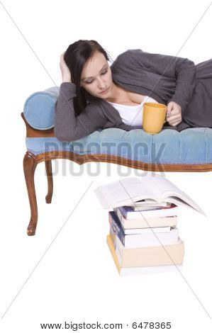 Stylish Cute Girl Reading A Book