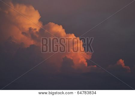 Ominous Orange Cummulus Storm Clouds