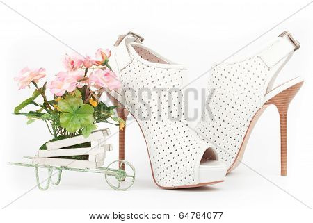 White Shoes With Pink Flowers