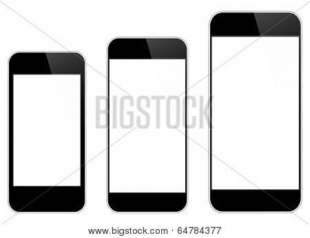 Black Mobile Phones Isolated