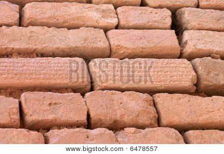 Brick Wall With Cuneiform Writing On Bricks, Shush, Iran
