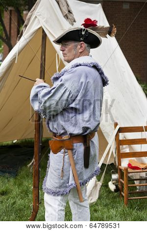 Living historian participating in the War of 1812 Commemoration in Warrenton, Virginia.
