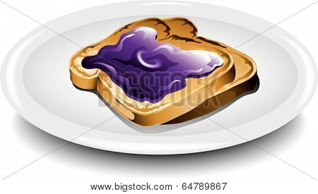 Toast with grape jelly