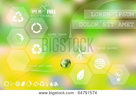 Vector web and mobile interface info graphic template. Flat corporate website design. Minimalistic multifunctional media background. Editable. Options, Icon, Banner. Eco energy environmental concept.