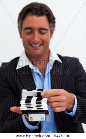 Portrait Of A Businessman Searching For The Index