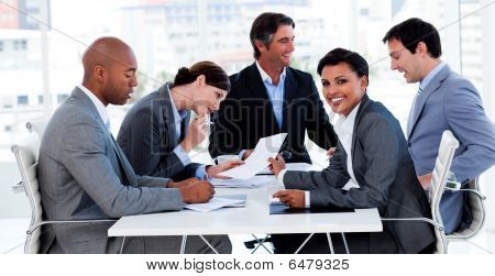International Business People Discussing A New Strategy