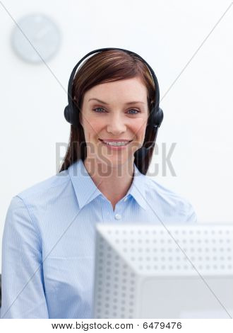 Customer Service Agent Working In A Call Center