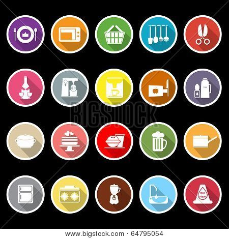 Home Kitchen Icons With Long Shadow
