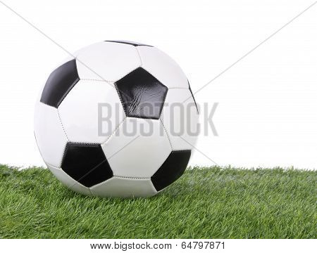Stitch leather soccer ball on green grass field.