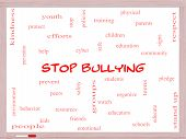 stock photo of stop bully  - Stop Bullying Word Cloud Concept on a Whiteboard with great terms such as students cyber safety and more - JPG