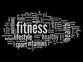 pic of high calorie foods  - High resolution concept or conceptual abstract fitness and health word cloud or wordcloud on black background - JPG