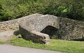 stock photo of west village  - Pack Horse Bridge over Horner Water West Luccombe - JPG