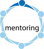 stock photo of mentoring  - Conceptual illustration of different people in a circle with one person standing out from the rest because he is the mentor and the word mentoring inside the circle of people - JPG