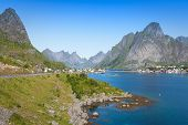 stock photo of reining  - Scenic town of Reine on Lofoten islands in Norway - JPG