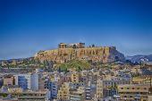 picture of parthenon  - Parthenon temple on Acropolis and Athens cityscape - JPG