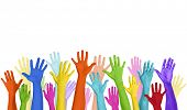 image of charity relief work  - Multicolored Arms Raised and Copy Space - JPG