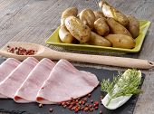 stock photo of endive  - ham and endive presented on a slate with potatoes - JPG