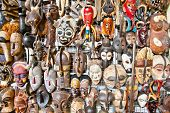 picture of zulu  - Old african masks for sale at market in Nairobi - JPG