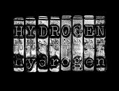 picture of hydrogen  - Hydrogen concept in type on black background - JPG
