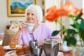 image of only mature adults  - A content old lady enjoying some tea and a muffin - JPG
