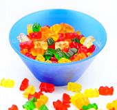 picture of gummy bear  - Gummy bears candy in a colorful bowl - JPG