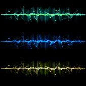 image of flux  - Electric wave pulse collection set  in blue yellow and green - JPG