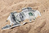 picture of 100 dollars dollar bill american paper money cash stack  - 100 dollar bill buried in the sand - JPG