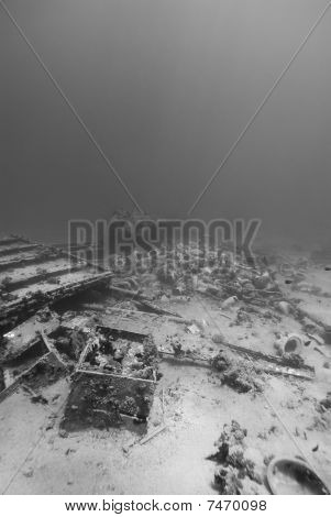 Ship Wreckage On The Ocean Floor.