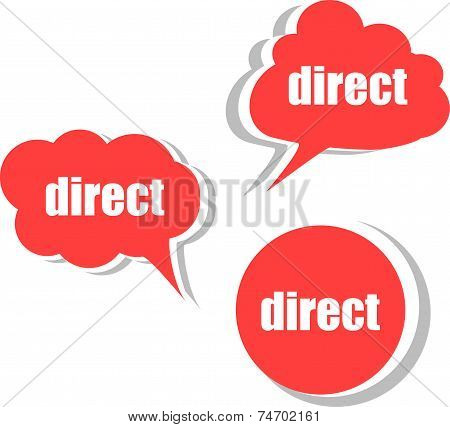 Direct Word On Modern Banner Design Template. Set Of Stickers, Labels, Tags, Clouds