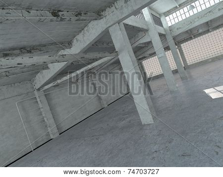 3D Rendering of No Color Empty Spacious Architectural Building Interior Design