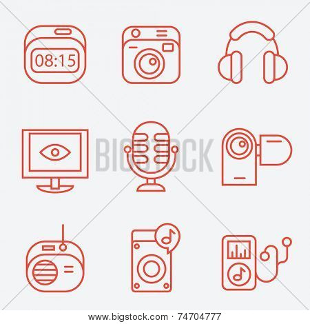 Media equipment  icons, thin line style, flat design