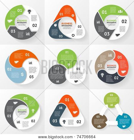 Vector circle triangle infographics set. Template for diagram, graph, presentation and chart. Busine