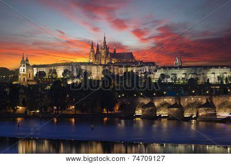 Prague At Epic Dawn, Charles Bridge And Prague Castle