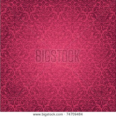 Red  vintage seamless grunge floral background design