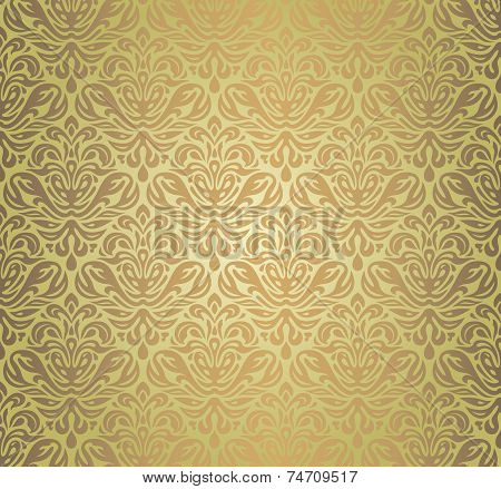 Green & brown vintage seamless grunge wall paper design