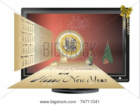 Postcard With Christmas And New Year In The Monitor
