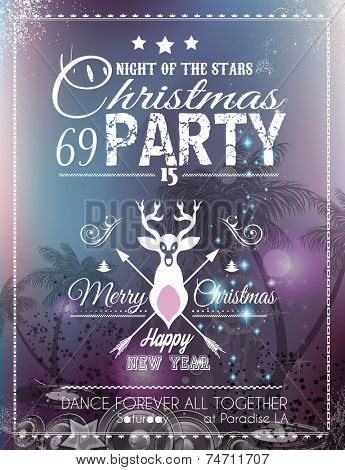 Christmas Party Flyer for Club and Disco events. Ideal for musical themed posters, invitation covers and new year's Eve discotheque nights!