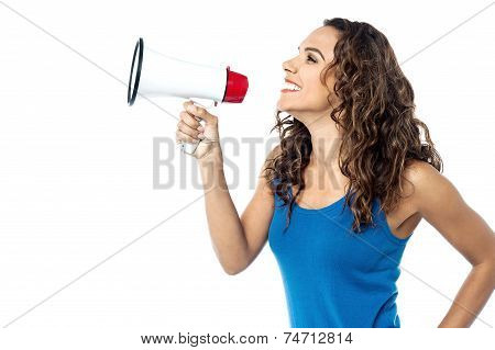 Smiling Woman With Megaphone Isolated On White