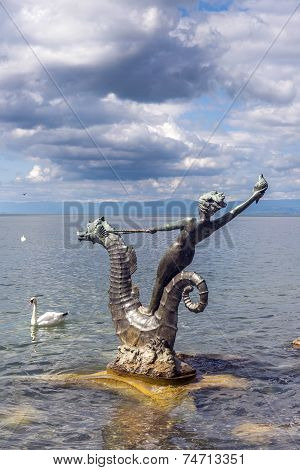 Sculpture By Edouard-marcel Sandoz At Vevey, Lake Geneva, Switzerland