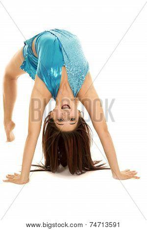 Woman Blue Dance Back Bend Happy