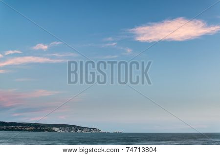 Beautiful Summer Sunset Landscape Over Isle Of Wight In England
