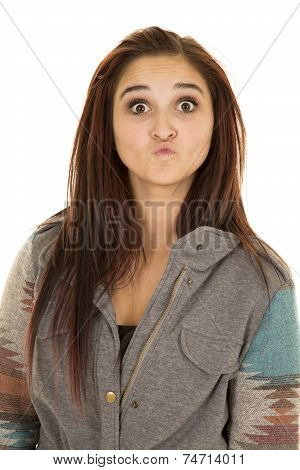 Woman Close Dark Hair Expression Kissy Lips