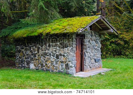 Moss-covered Stone Well House