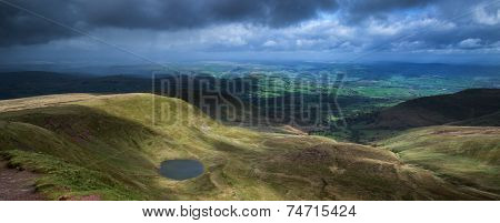 Beautiful Landscape Of Brecon Beacons National Park With Moody Sky