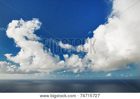 Huge Cumulus Cloud Hovering Over Ocean