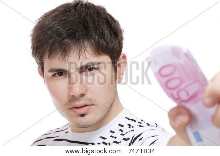 Casual Guy Holding Euros Bills