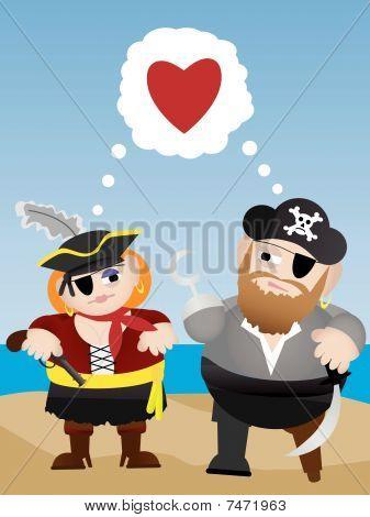 Pirates in love cartoon vector illustration