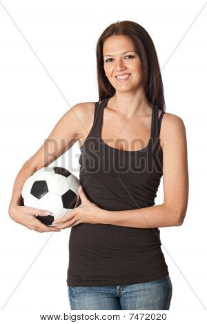 Attractive Young Woman With Soccer Ball